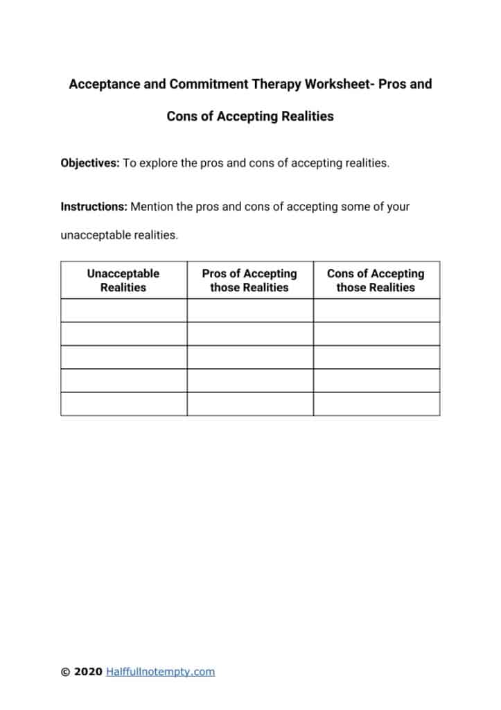 Acceptance and Commitment Therapy Worksheets (7)