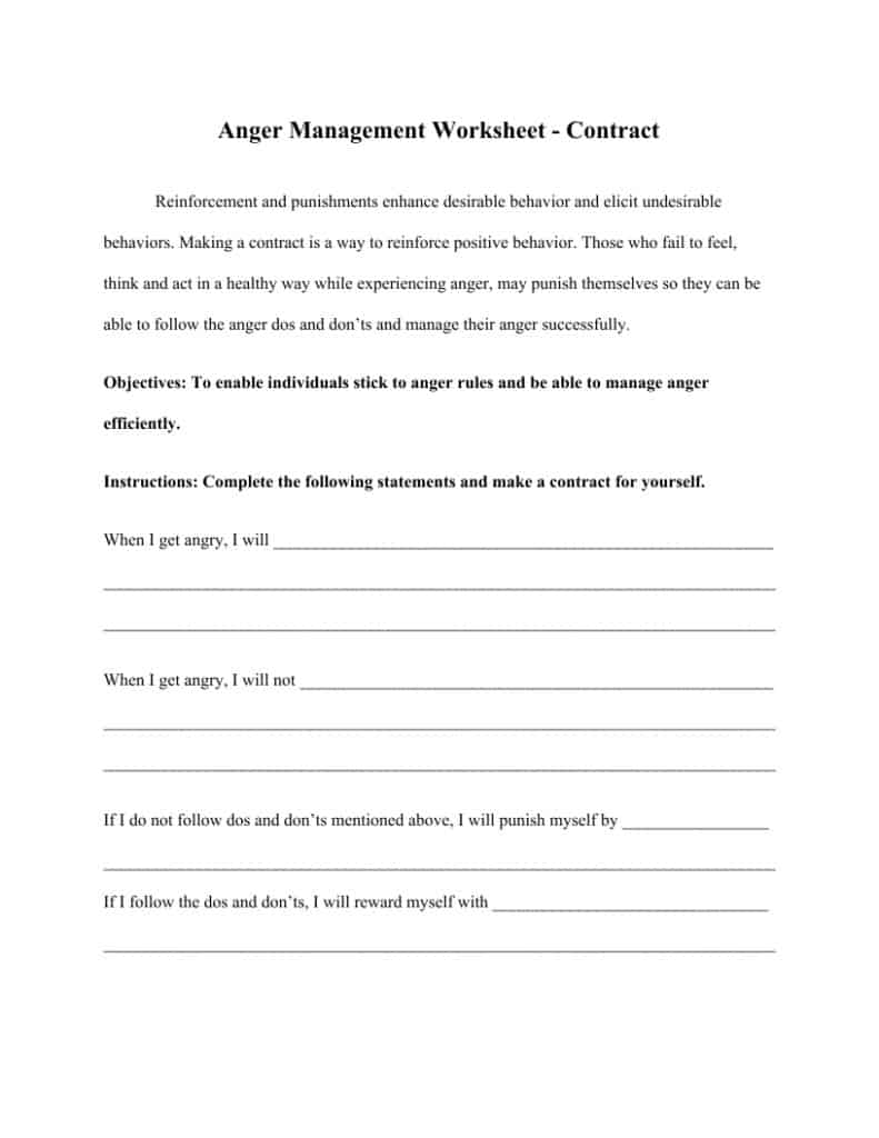 Anger Management Worksheets (5)