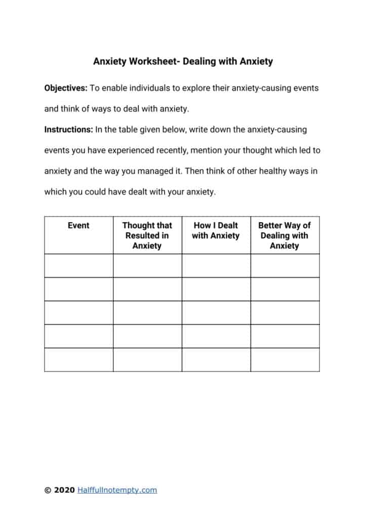 Anxiety Worksheets (5+)