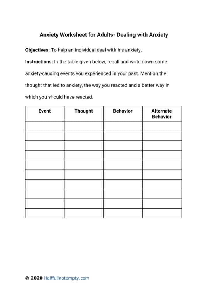 Anxiety Worksheets for Adults (7+)