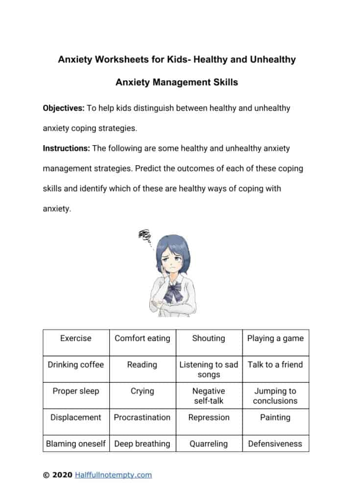 Anxiety Worksheets for Kids (7+)