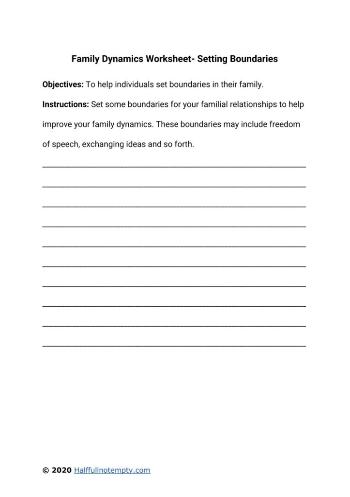 Family Dynamics Worksheets (7+)