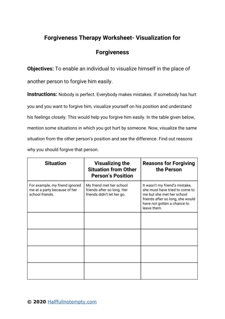 Forgiveness Therapy Worksheets (7+)