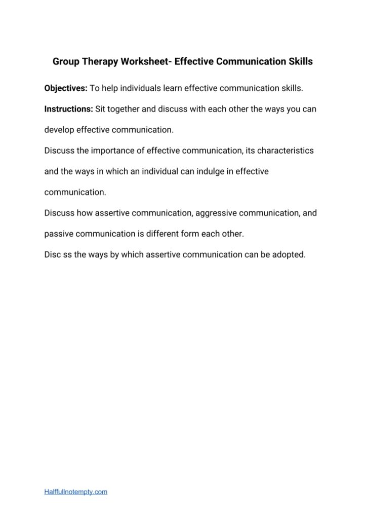 Group Therapy Worksheets (5+)