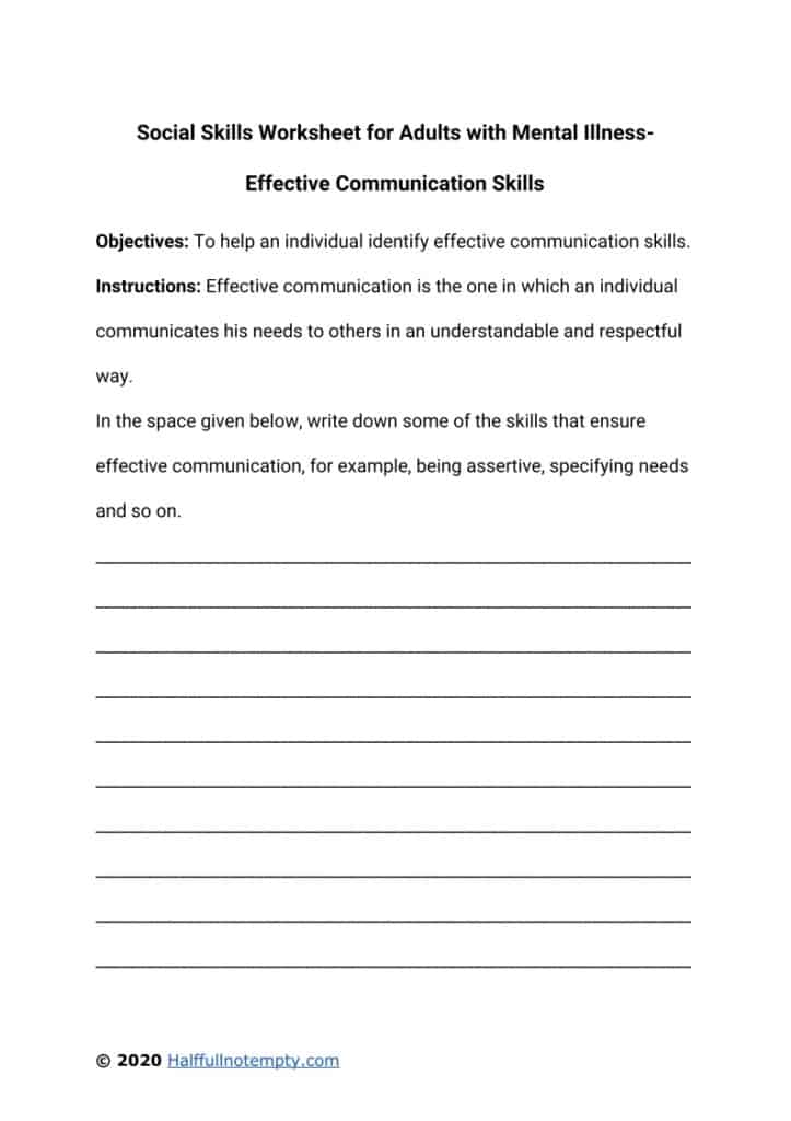 Social Skills Worksheets For Adults With Mental Illness