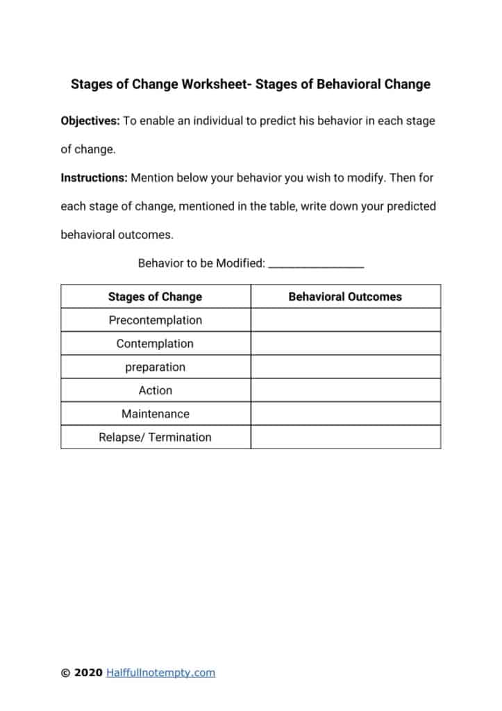 Stages of Change Worksheets (5+)