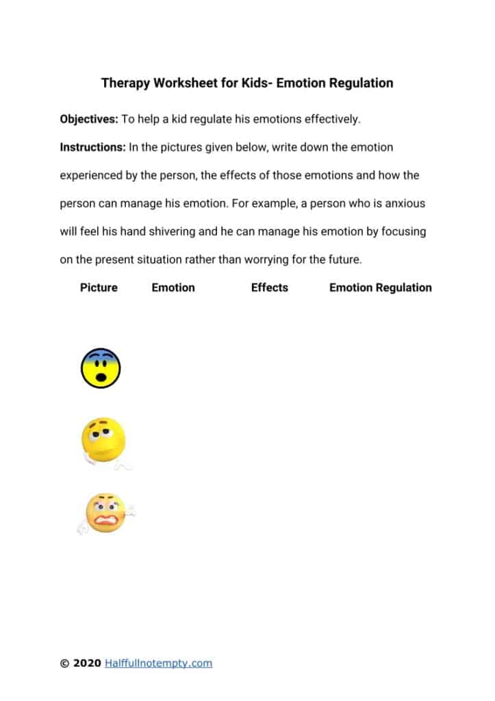 Therapy worksheets for kids (7+)
