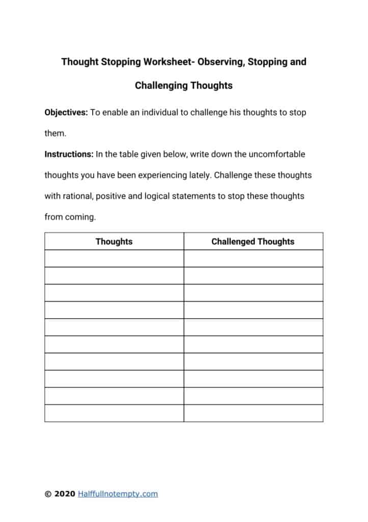 Thought Stopping Worksheet (5+)